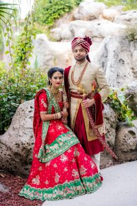 indian bride and groom on their wedding day